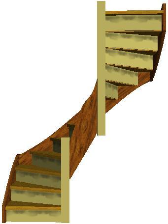 Tweekwarten trappen - Beneden trap ...