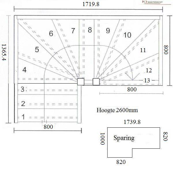 Tweekwarten trappen for Traphoogte berekenen